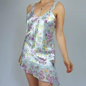 Pastel blue asymmetrical floral lingerie dress